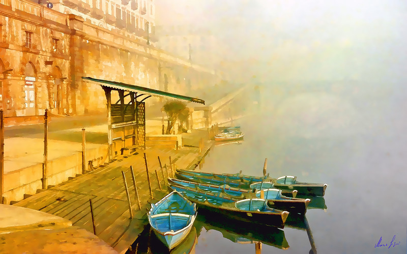 1960 Murazzi row boats in the fog