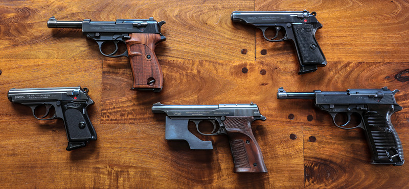 left to right: model PPK, model HP, Model Olympia-pistole, model PP, model P38