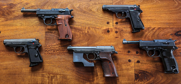 left to right: model PPK, model HP, Model Olympia-pistole, model PP, model P38