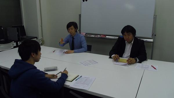 面接特訓講座にて。本間先生と田邉先生。「今回の反省を活かして合格ラインまでステップアップ!」