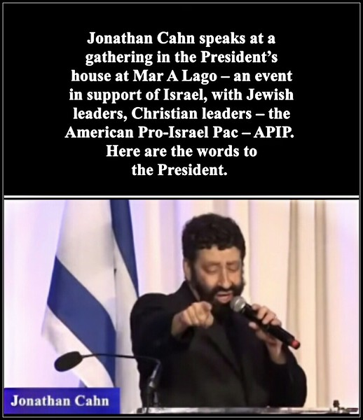 Jonathan Cahn (The Harbinger, Book of Mysteries) speaks  to President Trump at Mar A Lago 2019