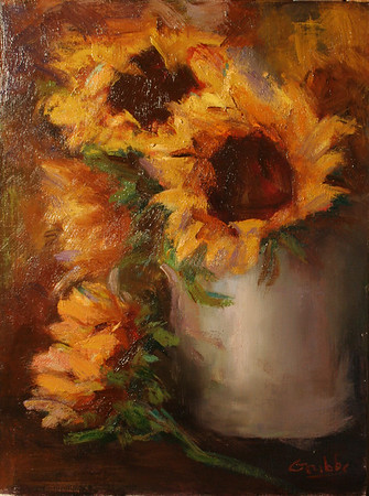Sunflowers in White Crock-Grubbs (sold)