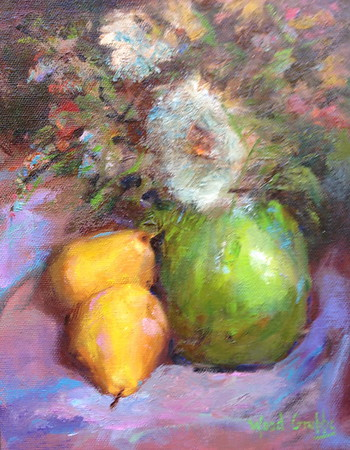 "Pears and Flowers-Grubbs, 9""x12"""