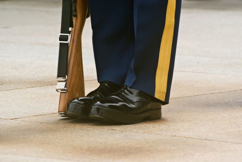 A PRIECISION STANCE OF THE HONOR GUARD