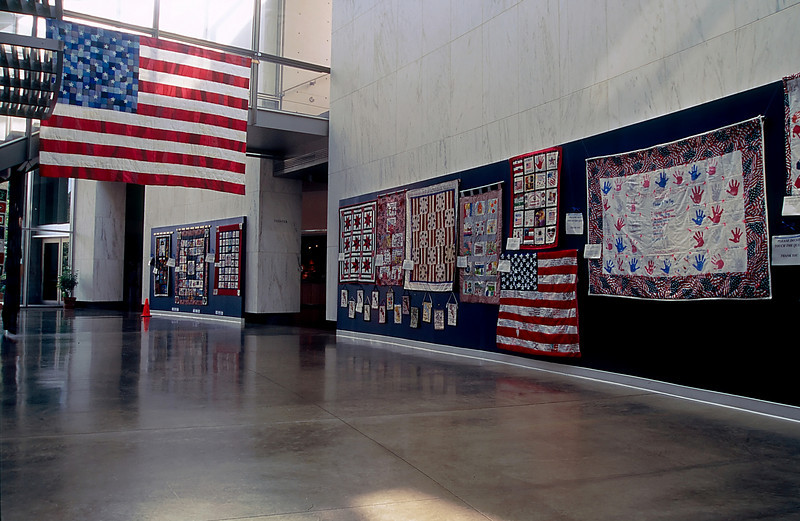SOME QUILTS IN THE WOMEN'S WAR MEMORIAL AT THE ARLINGTON NATIONAL CEMETERY
