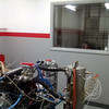 Viewed from back of motor towards the dyno room's double pane class window.
