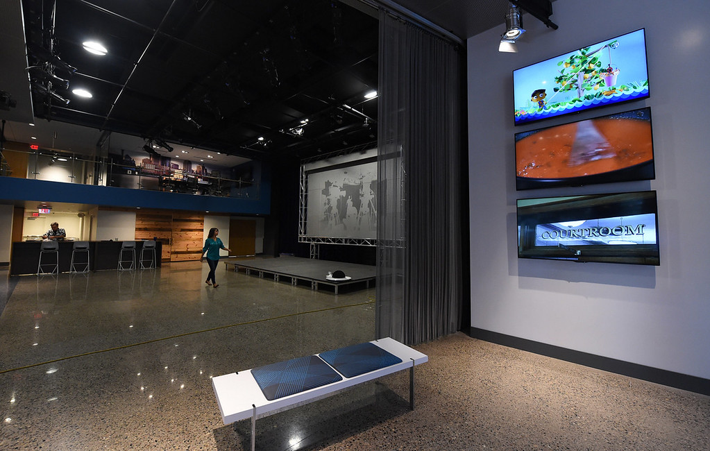 . The new street space level at Twin Cities Public Television includes a stage for live performances.  (Pioneer Press: Jean Pieri)