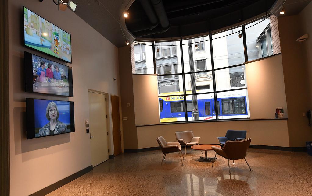. Two-story bay windows offer clear views onto the Metro Transit Green Line light rail trains.  (Pioneer Press: Jean Pieri)
