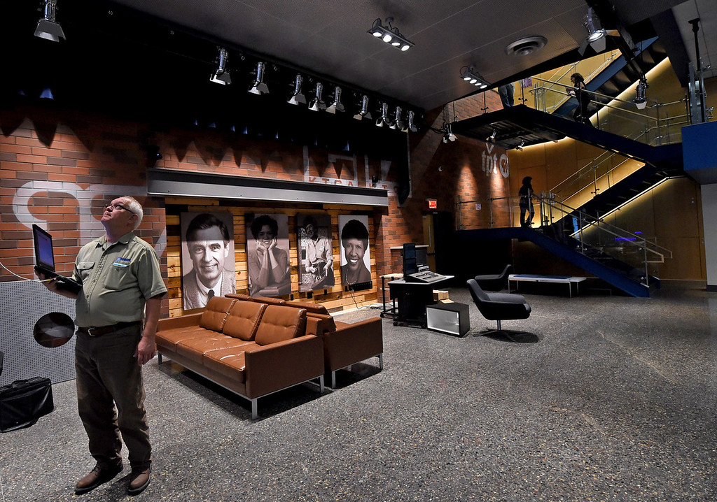 . Portraits of iconic PBS personalities are on display in the new street space level area, part of a 10-month, $18 million renovation at Twin Cities Public Television in St. Paul. (Pioneer Press: Jean Pieri)