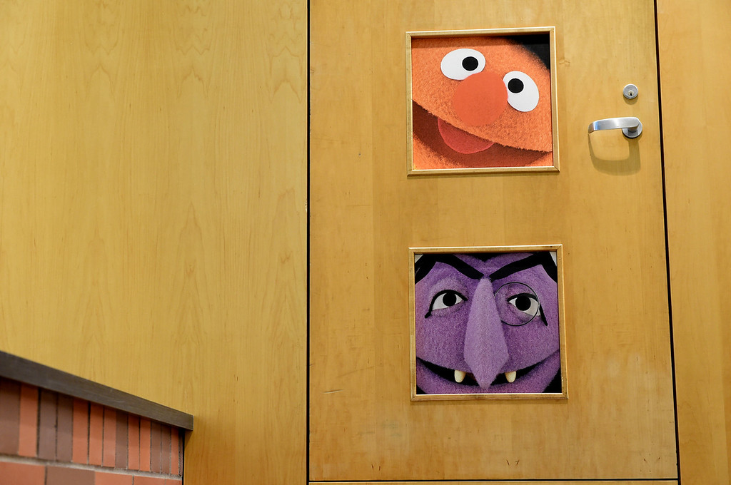 . Sesame Street characters on old office doors are now stairway walls at Twin Cities Public Television.  (Pioneer Press: Jean Pieri)