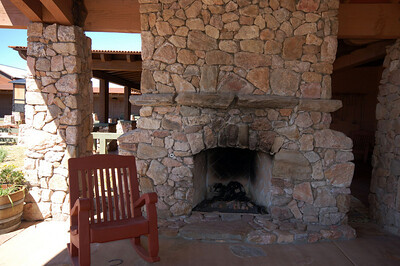 Fireplace at the community center. Example of the rock that would be used for house fireplace.
