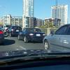 LaLamarStreetBridge crossing the river illustrating traffic and Austin's skyline.mar Street Bridge