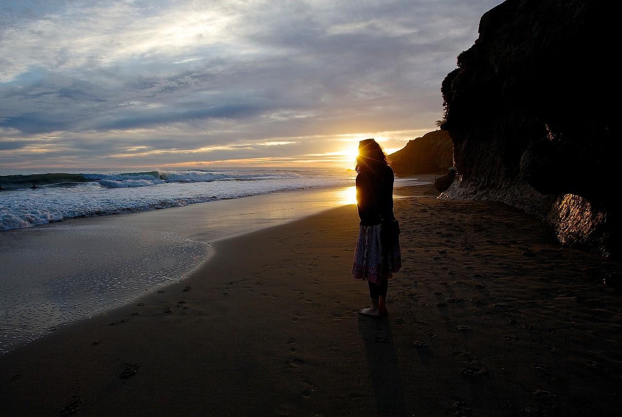 Solitary Woman.  Santa Cruz.