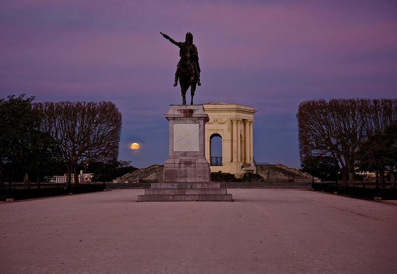 Moonset Over Montpellier, France.