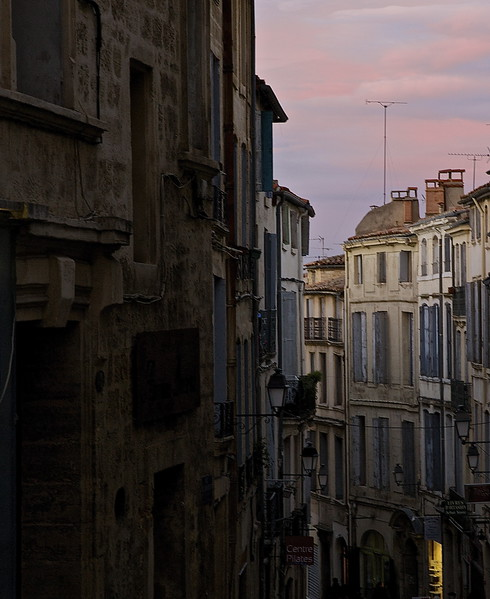Sunset In A French Town.