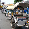 Tricycles used as public transportation in the Philippines. Spotted and ridden in Malabon, Philippines.