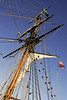 The Lady Washington flyin the colors of the United States.