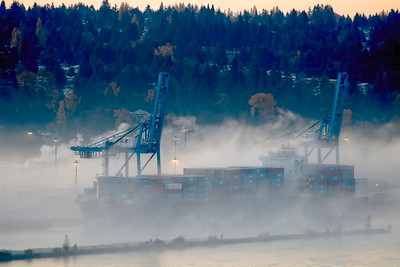 CONTAINER SHIP IN FOG