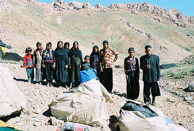 NOMAD FAMILY HOSTS Waiting for the mules.  On our return in 2006, this same family hosted us and slaughtered a goat in our honor. Mountain Trek, Iran