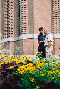 THE TEHRAN MUSEUM OF NATURAL HISTORY Decorative brickwork and lush gardens.  My partner Don and Mehran, our guide for the next two weeks.