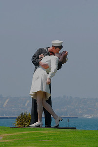"""Unconditional Surrender""  The 25 foot statue from the famous black and white image of the sailor kissing the nurse in Times Square, NY August 14, 1945 after the announcement that World War II was over."