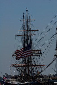The three masts of The Star Of India sailing ship.