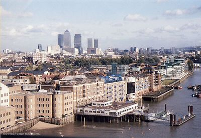 East View from the Tower Bridge Museum, London 2004