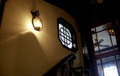 The staircase leading to the entrance of the oldest European restaurant in Nagasaki.  They say such luminaries as President Grant dined here.