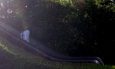 We were surprised to see this outdoor escalator leading up to the Disneyland like environs of Glover Gardens.