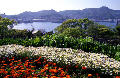 Looking south over the beautiful bay section of Nagasaki that was spared the bomb's destruction.