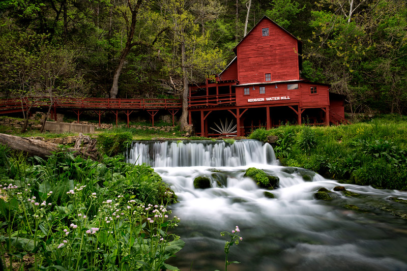 Hodgson Grist Mill with Spring Flowers - Missouri - Spring 2016
