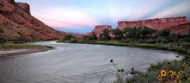 Sunset at Red Cliffs Lodge - Bottom of Red Rock Cliffs - Moab, Utah - Sept 2014
