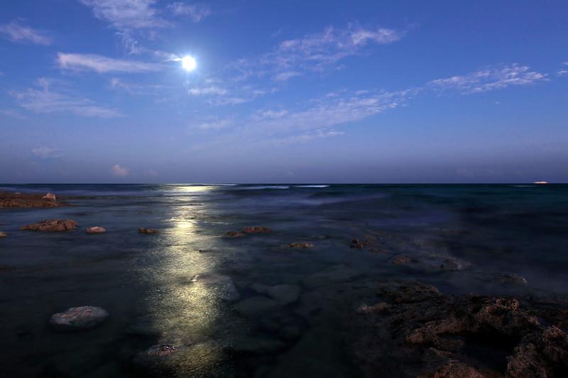 Moon light on the ocean.