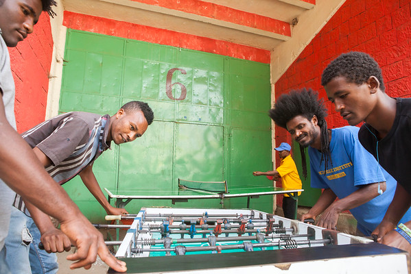 A hot table football competition next to Addis Ababa Stadium