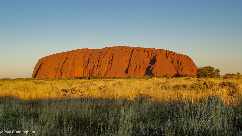 Uluru in the setting sun.