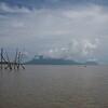 Mt Santubong beyond the fish net anchor