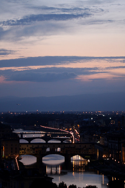 Sunset over Arno river in Florence