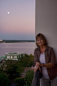 Enjoying the view on our balcony while in Cienfuegos.  The full moon was spectacular.