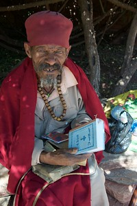 Showing me his bible in Amharic, well protected in skins