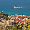 Greece. Nafplio — View from Palamidi hill on the Town & Bourzi Castle / Греция. Нафплион — вид с горы Паламиди на город и замок Бурдзи