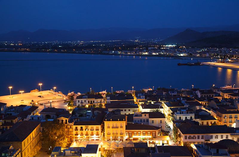 Aerial View of Nafplio at Night / Нафплион вечерний, вид сверху