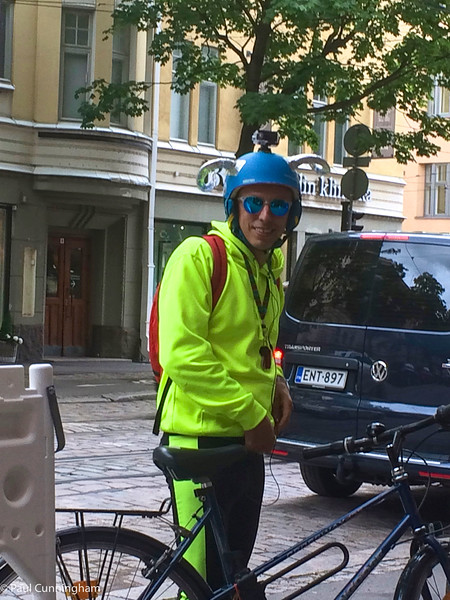 This guy with the funny helmet stopped beside us as we were having lunch at an Italian restaurant in Helsinki