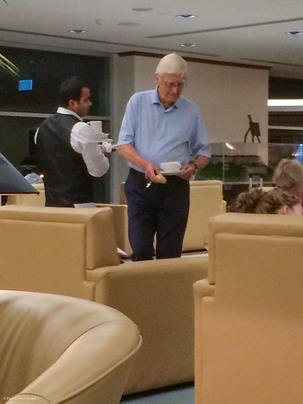 None other than Michael Parkinson and his wife parked themselves close to me in the Emirates lounge at Sydney Airport.