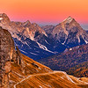 Stunning sunset at Tofana di Roses in Dolomites