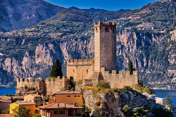 Castle guarding Malcesine town at Lake Garda, Italy.