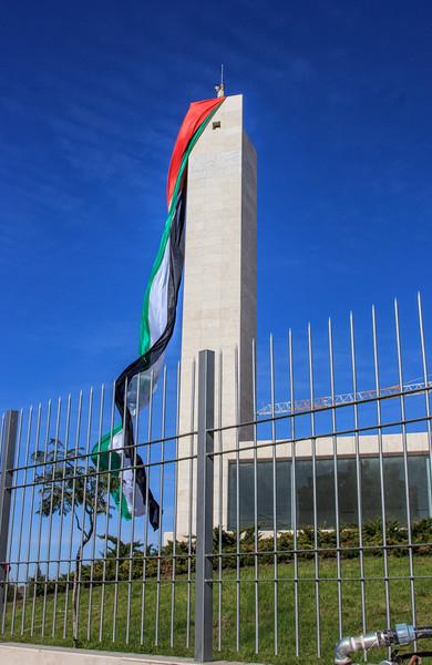 162 - Palestinian flag by Arafat memorial -Ramallah