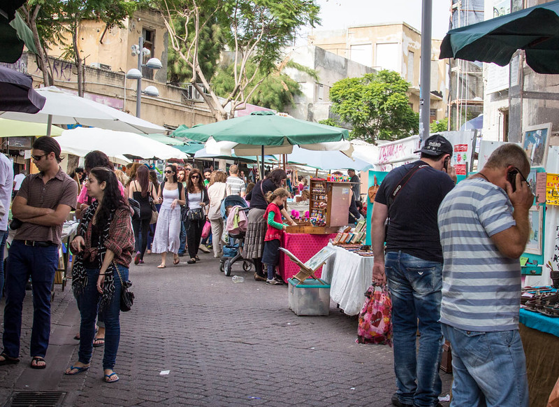 165 - Tel Aviv Market on day 2 of trip when missile landed close by
