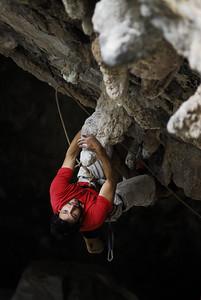 Wolfang Parada climbing Nosferatu, 5.12c, Tecalote Cave. El Salto. Nuevo Leon, Mexico.