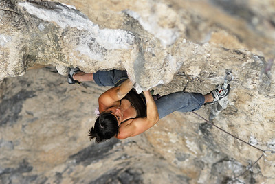 Mandoline Masse-Clark on Surfarosa, 5.13a, at the Surf Bowl. El Potrero Chico, Nuevo Leon, Mexico.