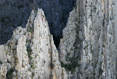 Climbers on Evil Shenanigans. Wonder Wall. El Potrero Chico, Mexico.